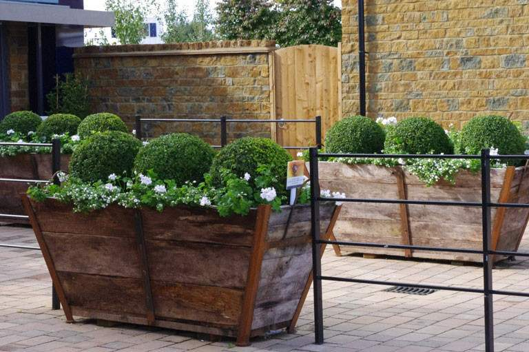 Vintage champagne crates with ball topiary - Nicholsons Garden Design for David Wilson Homes