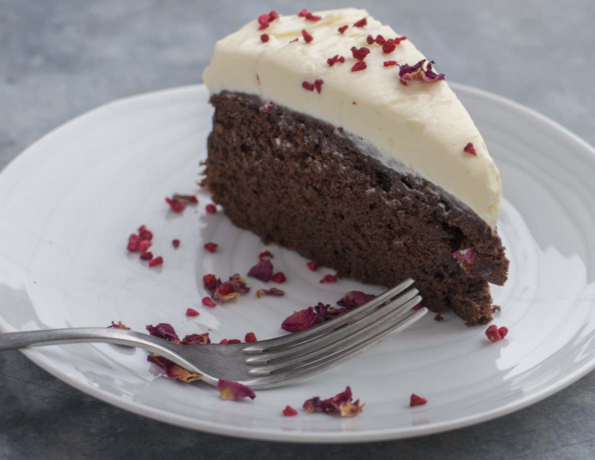 June - Chocolate and Raspberry Cake with a Cream Cheese, Mascarpone Topping