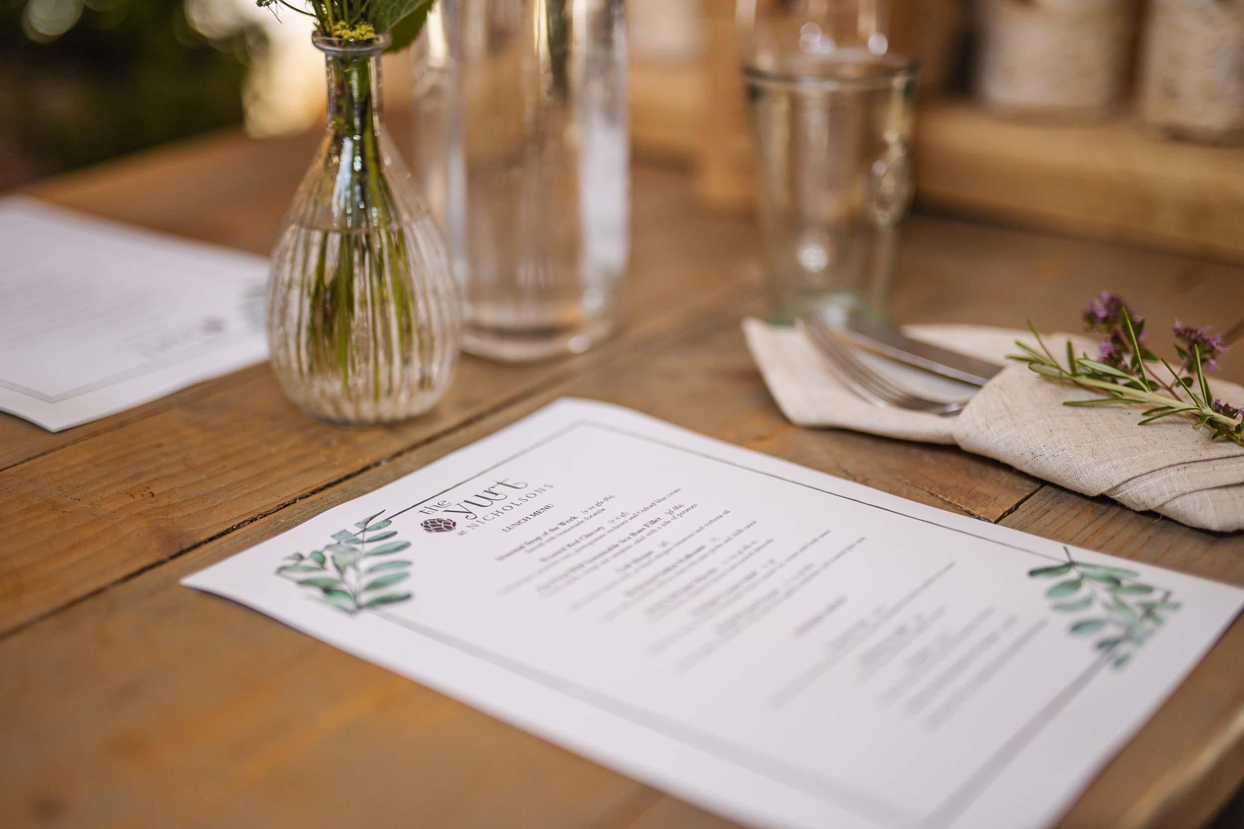 The Yurt menu